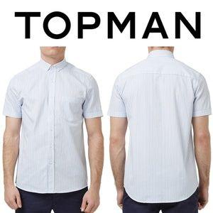 TOPMAN Blue Slim Fit Short Sleeve Stripe Shirt